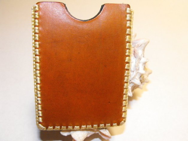 Image 1 of Handcrafted Leather I.D. Card Case Hand Stitched Tooled with Cross