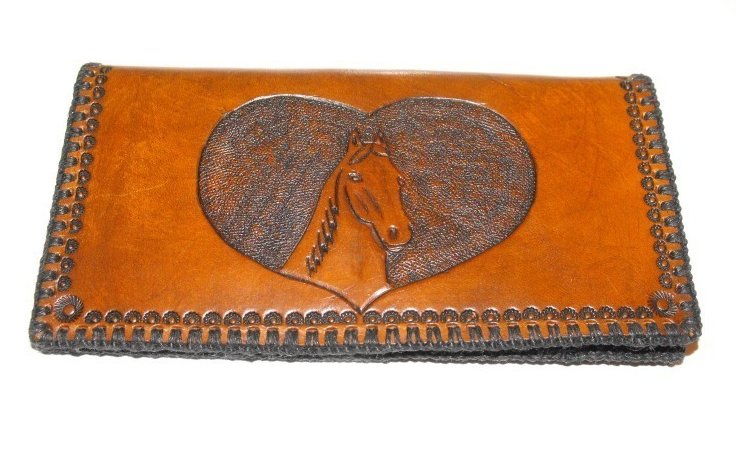 Image 0 of Leather Checkbook Cover Hand Stitched Hand Tooled Horse Head