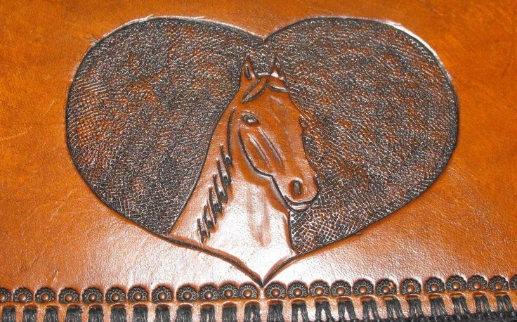 Image 1 of Leather Checkbook Cover Hand Stitched Hand Tooled Horse Head