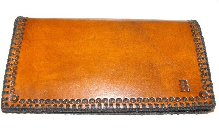 Image 2 of Leather Checkbook Cover Hand Stitched Hand Tooled Horse Head