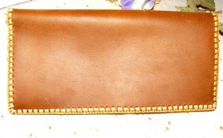 Checkbook Cover Stone Oil Tanned Leather Hand Stitched