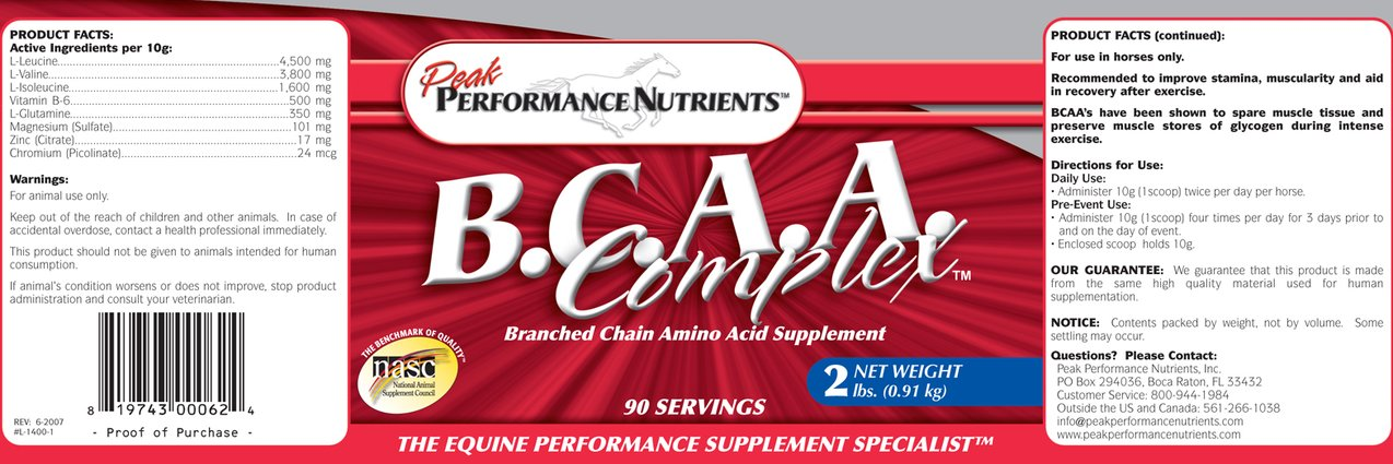 Image 1 of BCAA Complex 1.5# Peak Performance Nutrients equine supplement