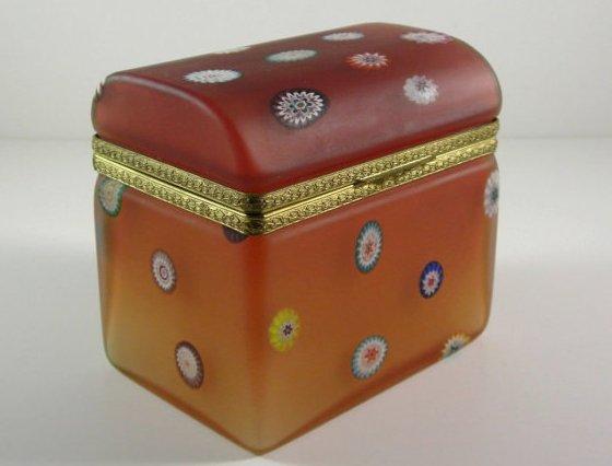Millefiori Dome Top Amber Glass Casket Dresser Vanity Jewelry Trinket Box