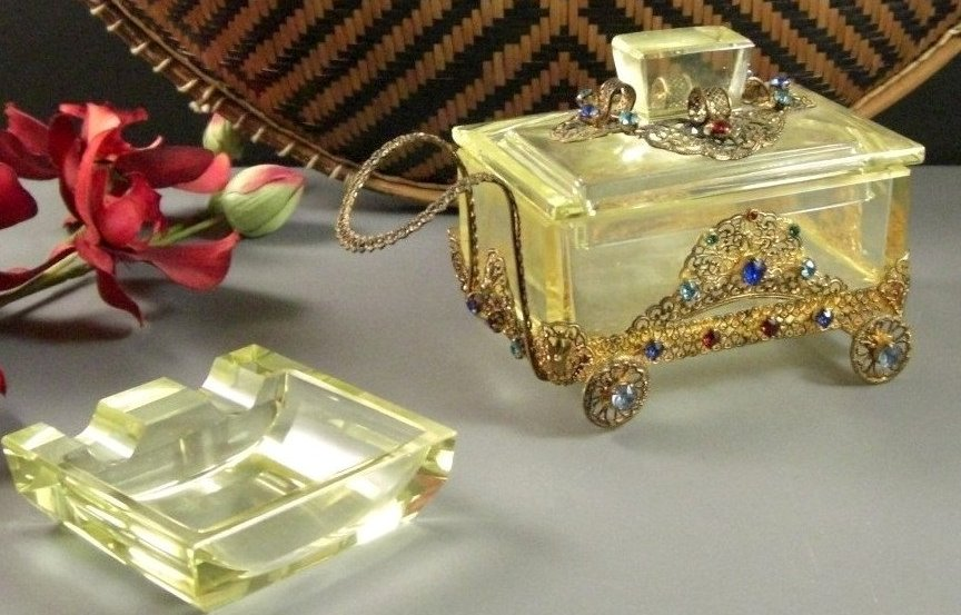 Jeweled Cigarette Buggy Box with Ashtray YELLOW Cut Beveled Crystal