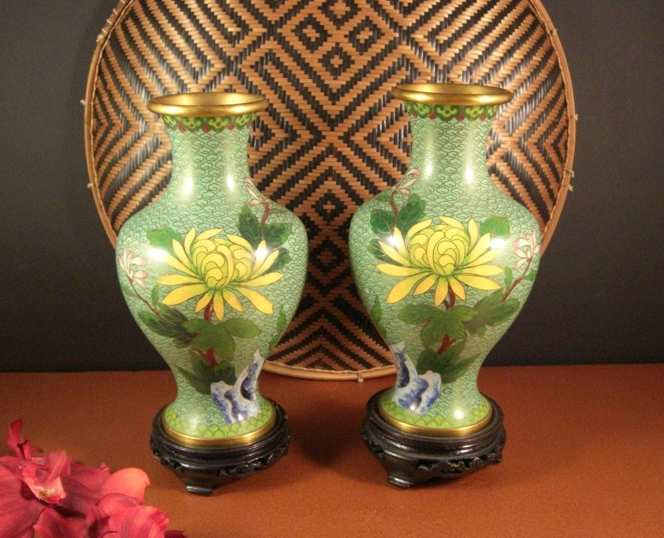 Chinese Champleve Cloisonne Vases // Flowers Bird // Matched Pair