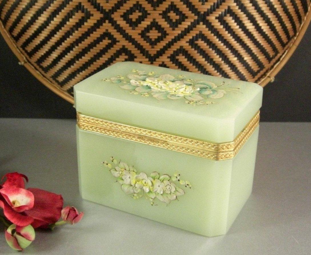 Italian Murano Art Glass Opaline Jewelry Casket Box / Dore Ormolu Mounts / Ename