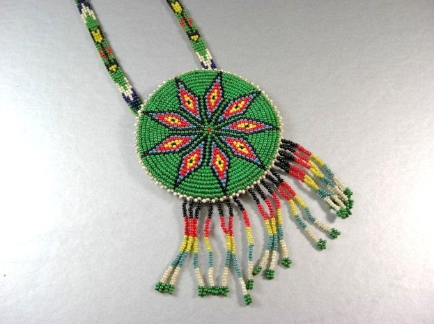 Native American Beaded Ceremonial Necklace / 9 Point Star Hand Beaded Disk