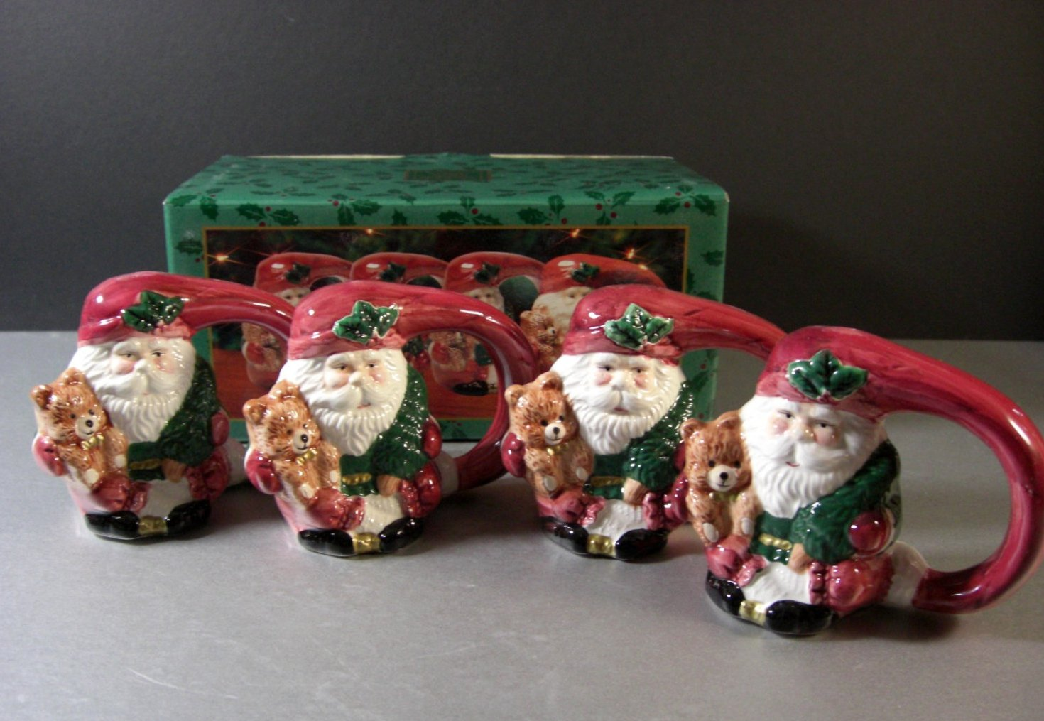 Fitz and Floyd Home for the Holidays Napkin Ring Holders / Set of 4