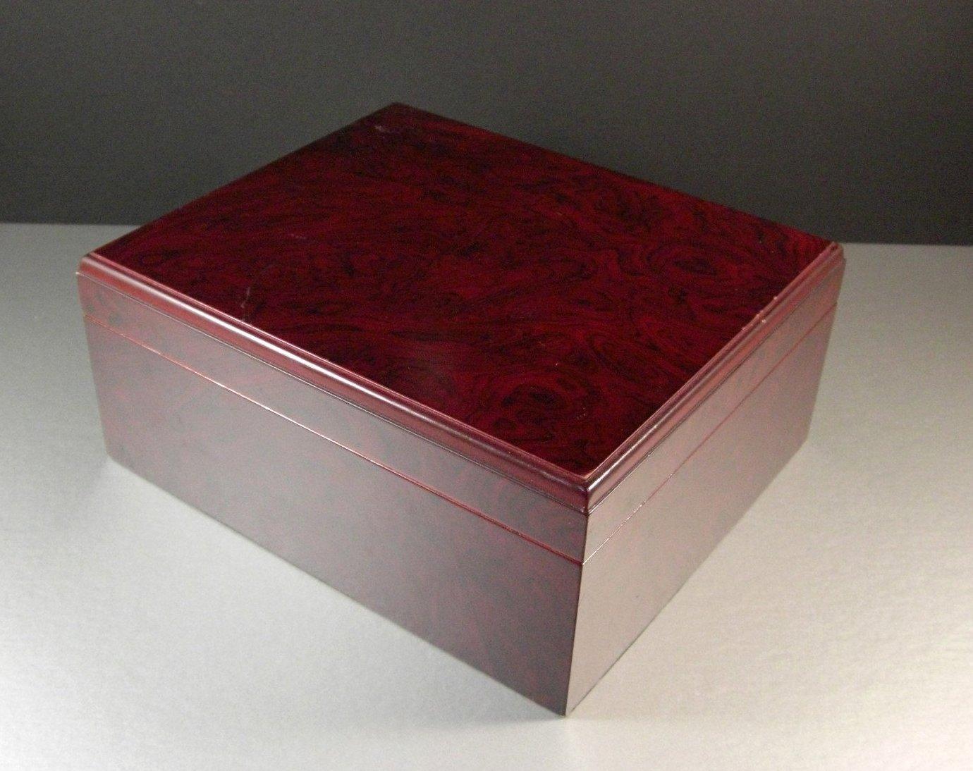 Vintage Cedar Lined Cigar Tobacco Humidor Stash Box with a Cherry Wood Finish