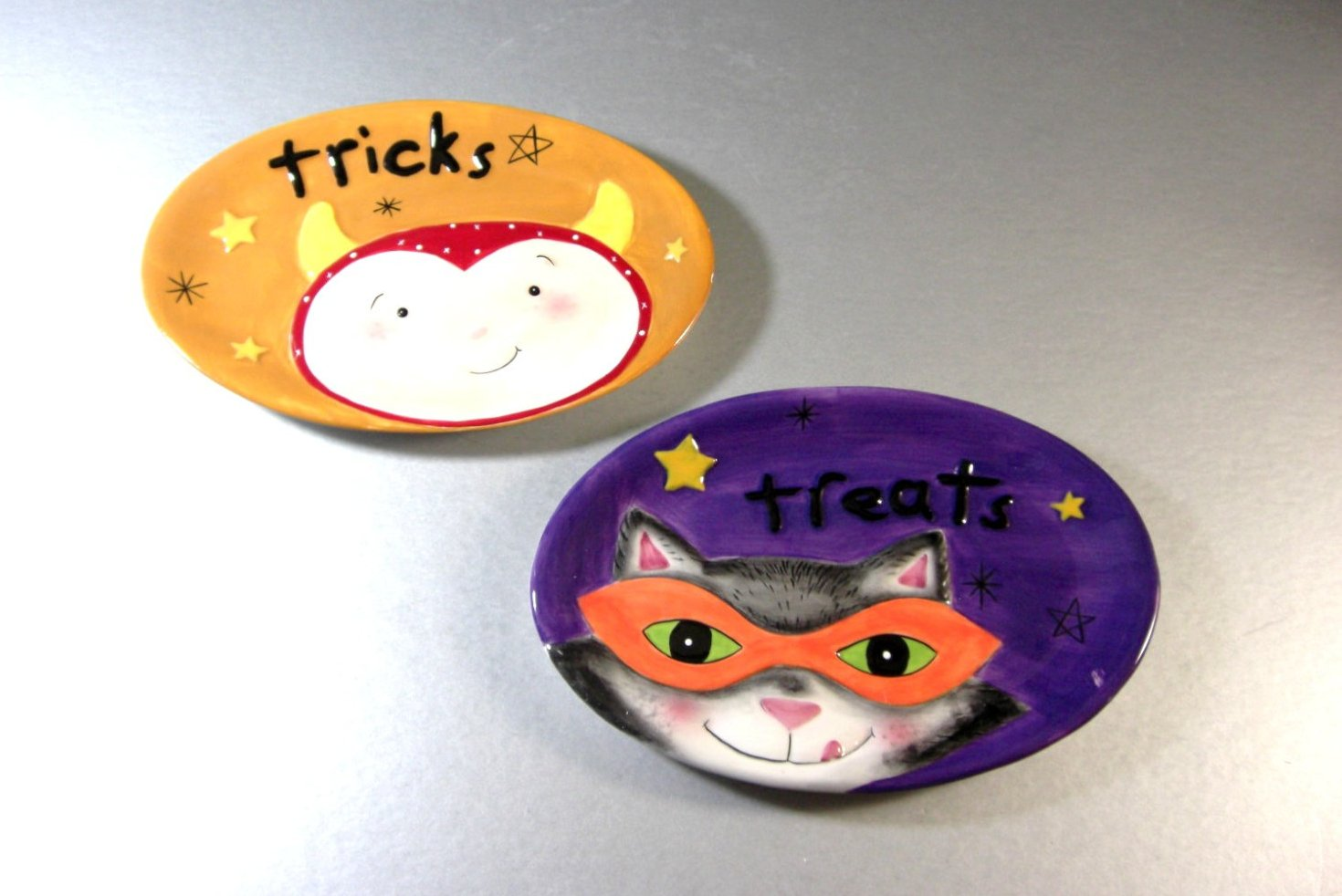 Fitz and Floyd Halloween Tricks or Treats Plates Cookie Candy Appetizer Trays