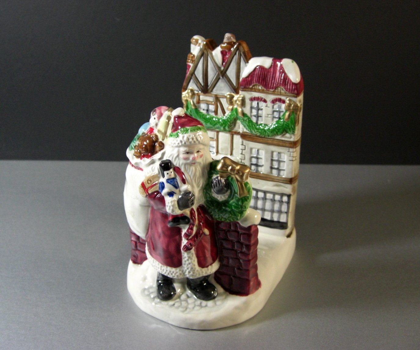 Fitz and Floyd Dickens Christmas Napkin Card Mail Holder Santa 1988
