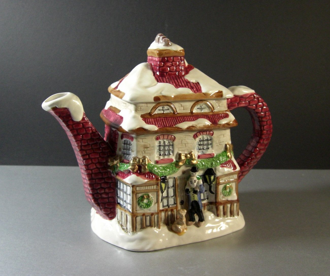 Fitz and Floyd Dickens Christmas Teapot 1988