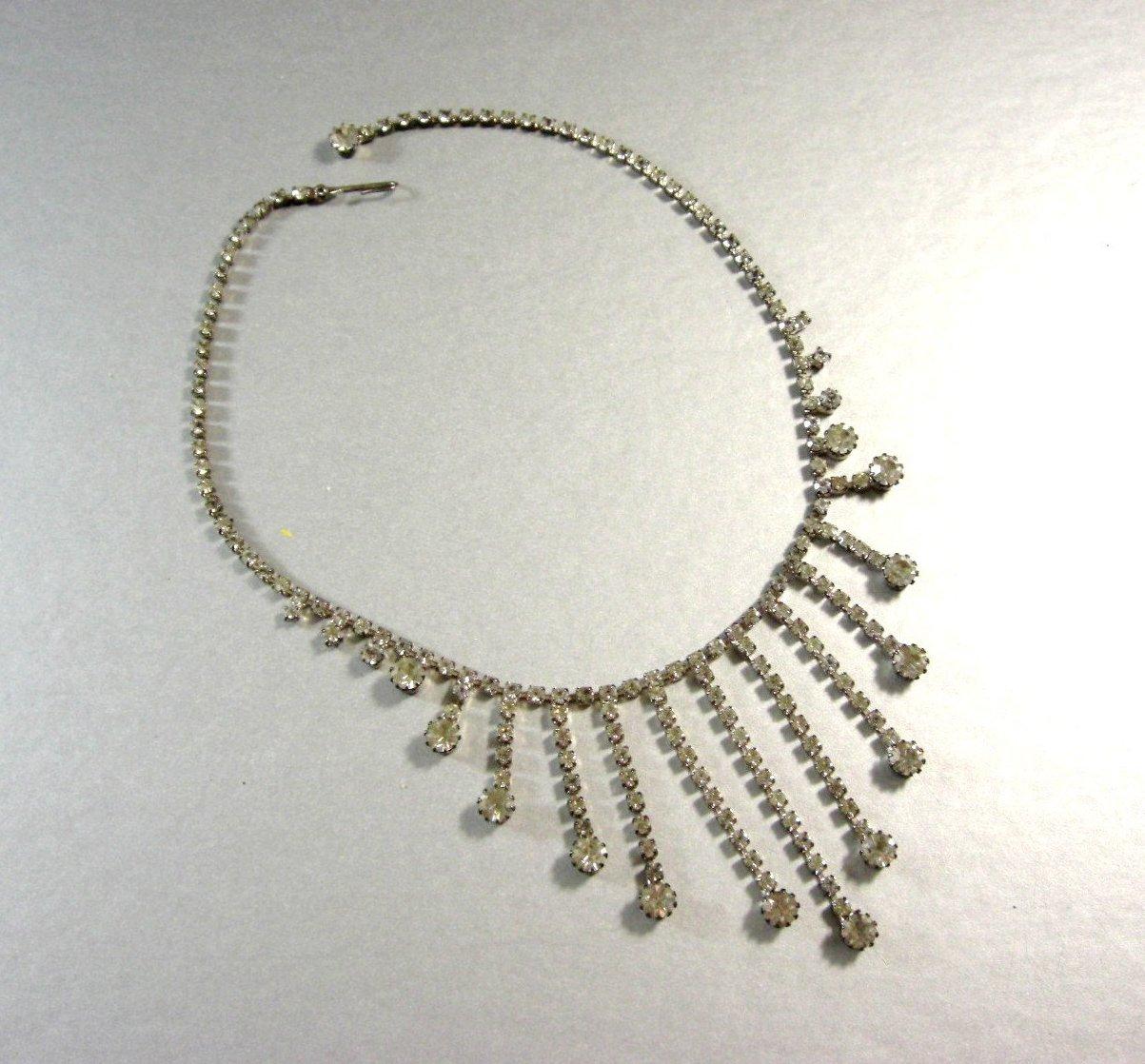 Old Clear Rhinestone Necklace / Bridal Wedding