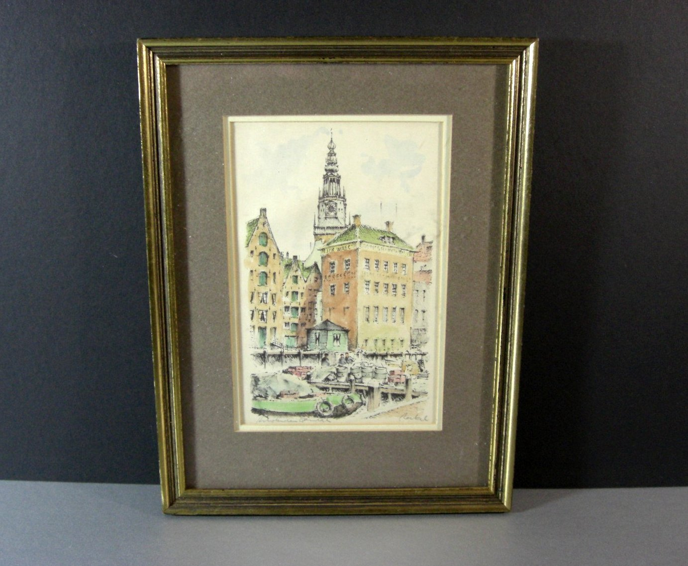 Signed Matted Framed Hand Colored Etching European Scene