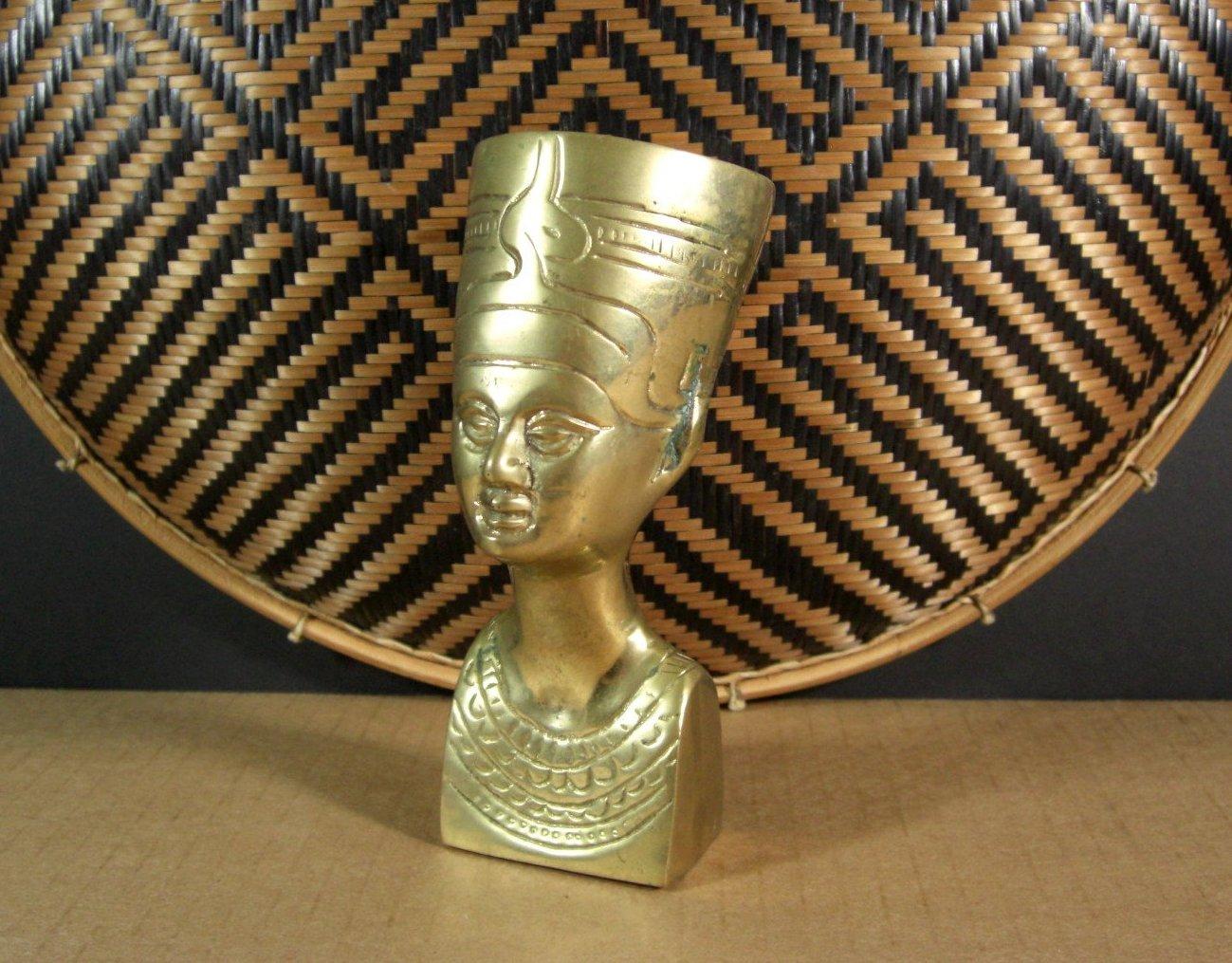 Vintage Brass Nefertiti Bust Statuette Paperweight