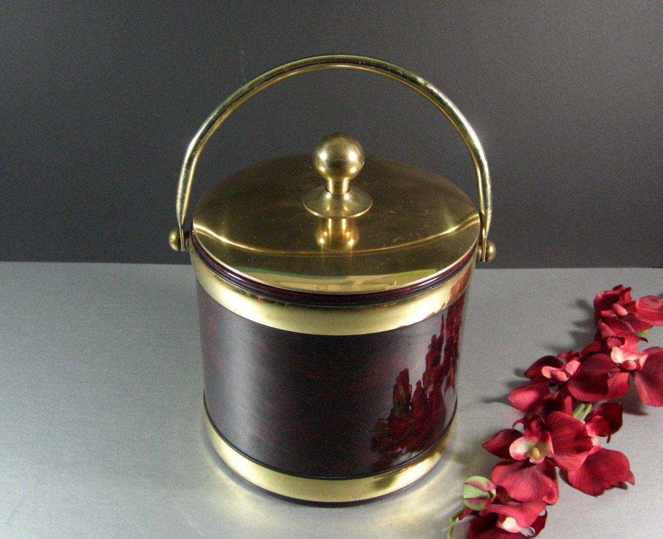 Kraftware Vinyl Ice Bucket / Complete / Mid Century