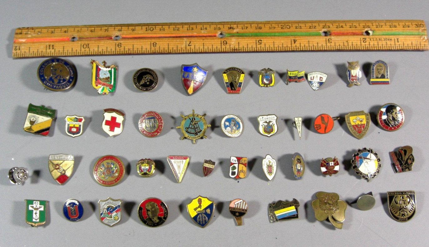 Over 40 Vintage South American Pin Backs, Metals, Tie Tacks, Advertising, Frater