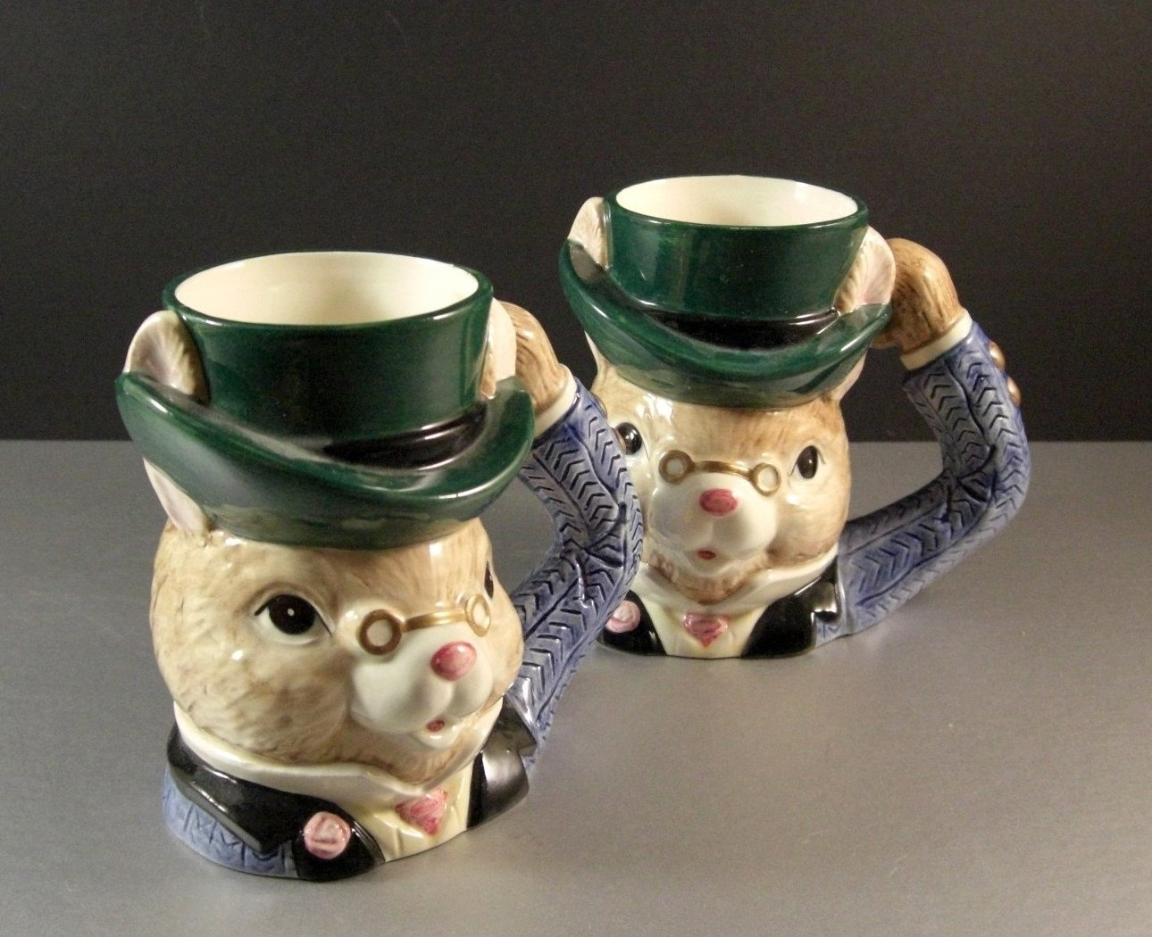 Fitz and Floyd Omnibus Rabbit Toby Mug / 1993 / Alice in Wonderland? / Pair