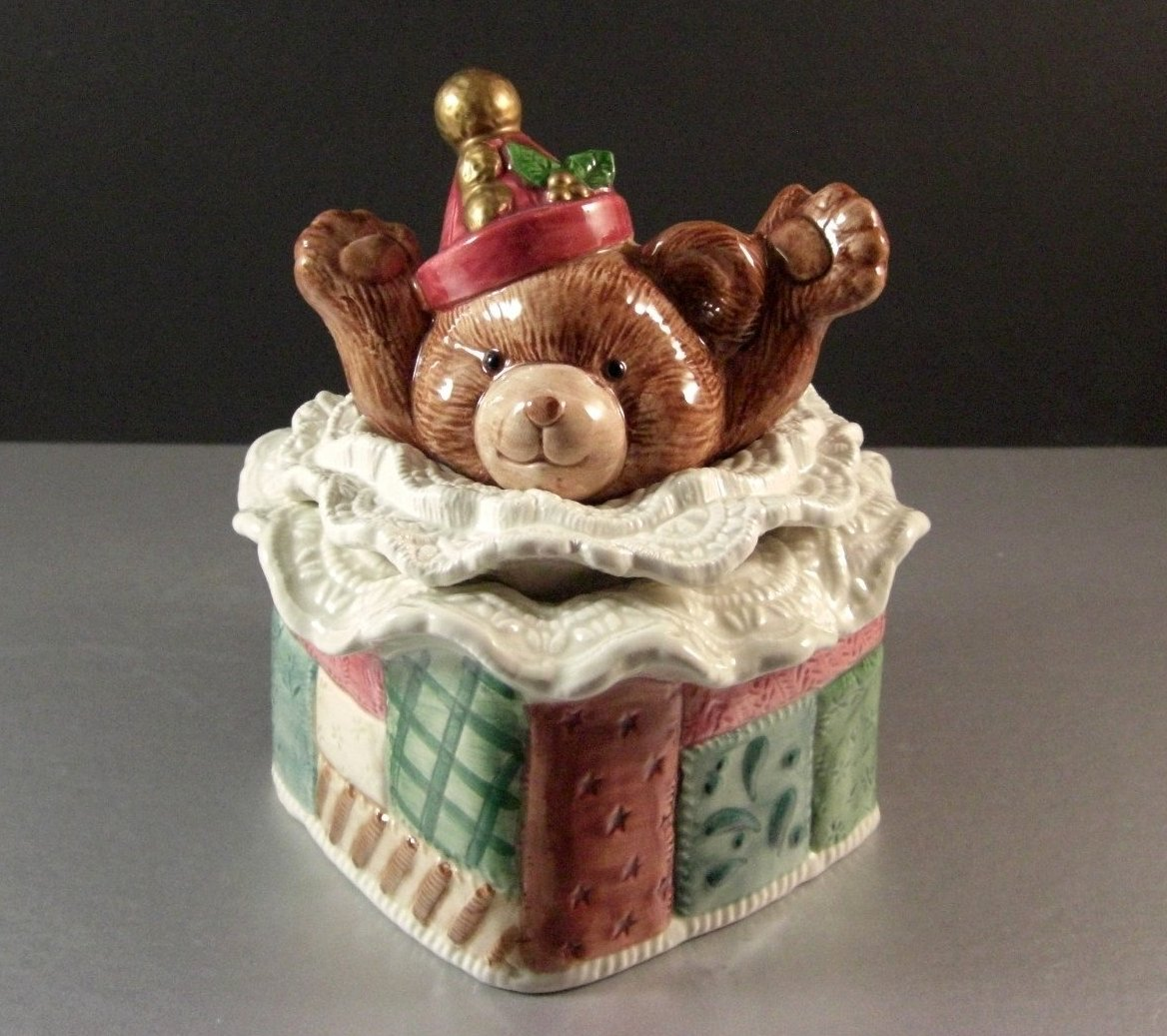 Fitz and Floyd Christmas Quilt Covered Candy Dish and Lid / Christmas Teddy Bear