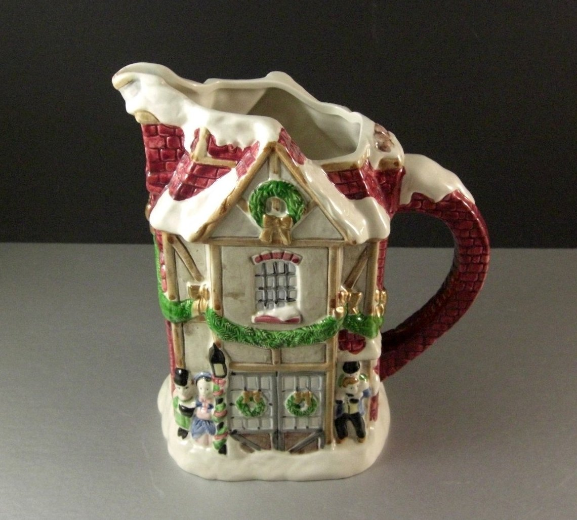 Fitz and Floyd Dickens Christmas Pitcher / 40 ounces / 1988