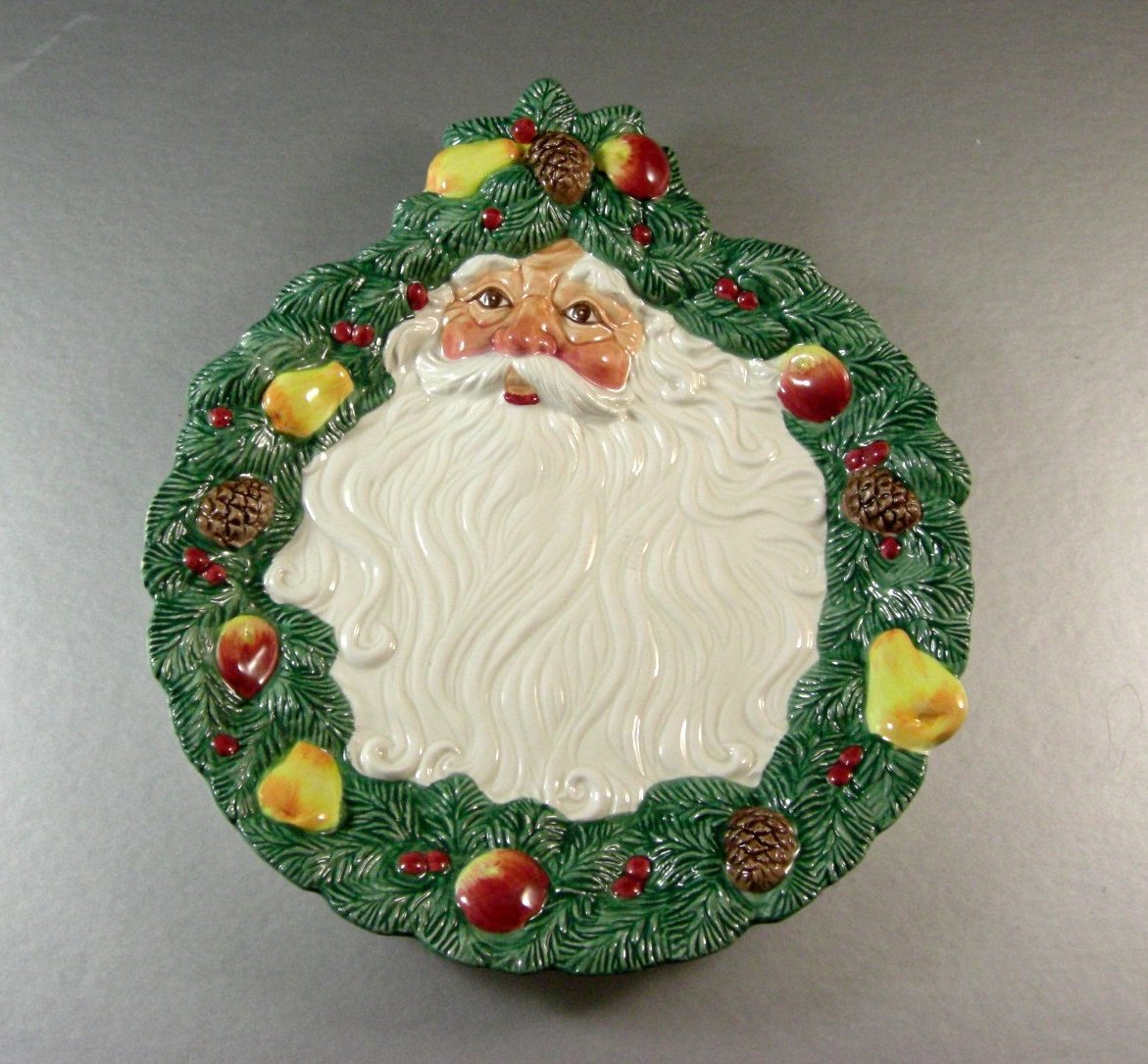 Fitz Floyd Woodland Santa Luncheon Canape Cookie Plate / Wall Hanging / 1991