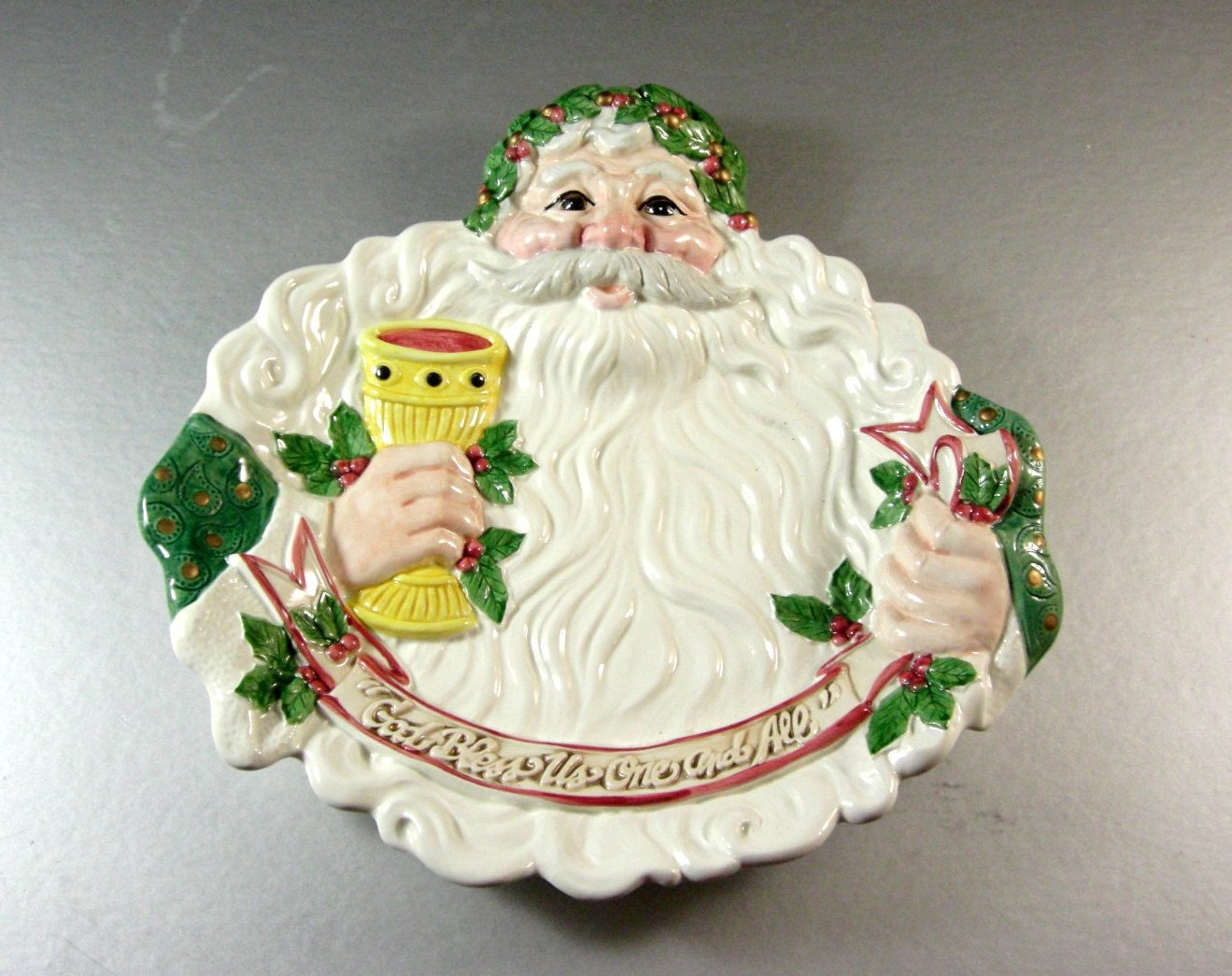 Fitz and Floyd SANTA Canape Dish Tray Plate / Candy Cookie Serving / God Bless