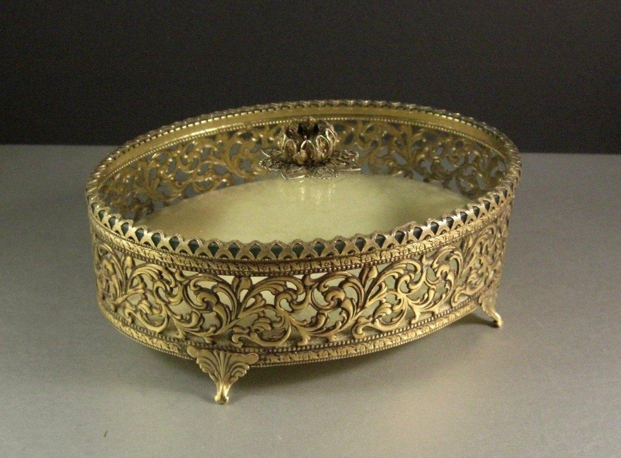 Large Elegant Oval Ormolu and Glass Jewelry Casket Trinket Dresser Box