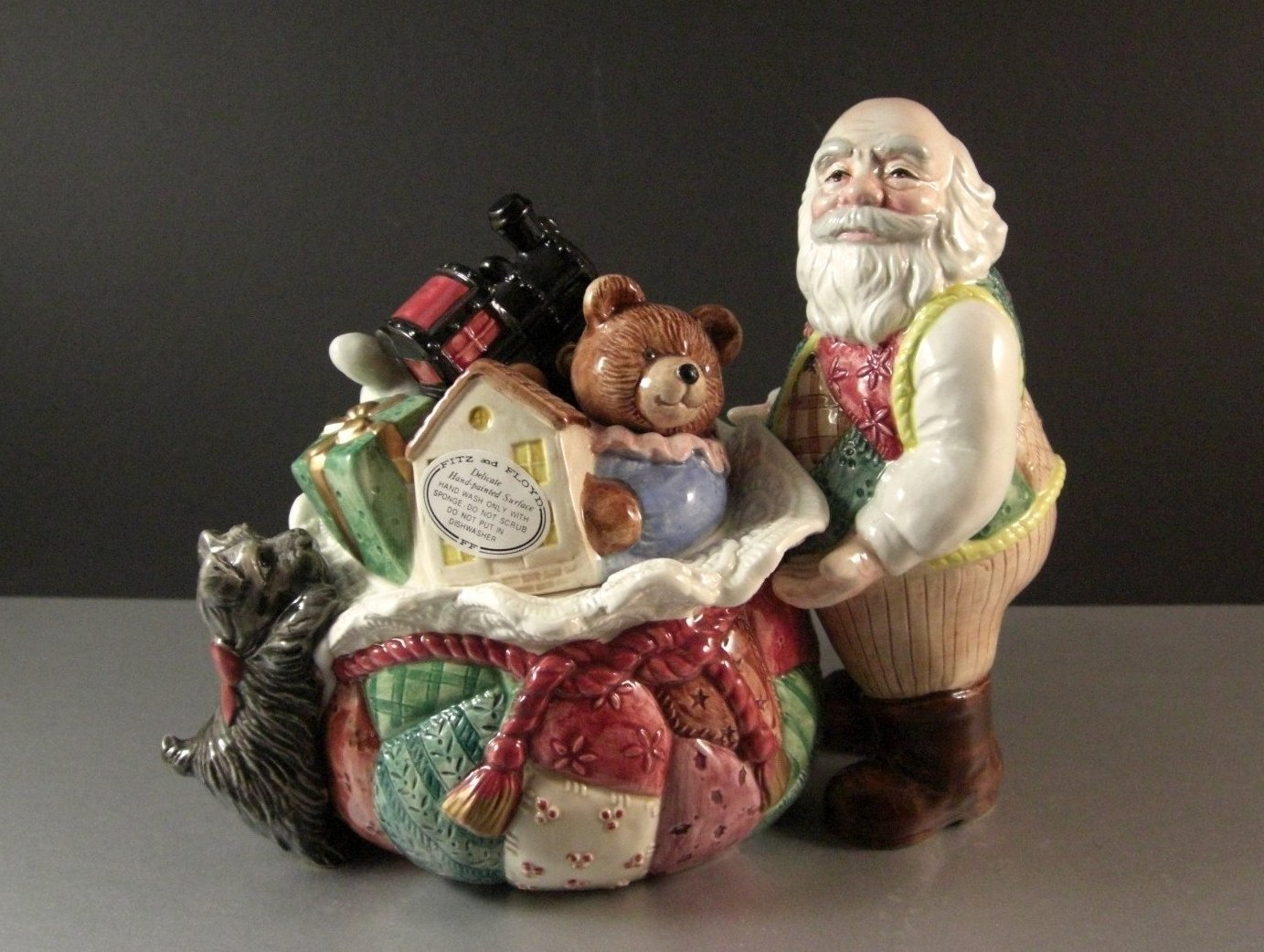 Fitz Floyd Country Christmas Patchwork Quilt Santa Cookie Dog Biscuit Jar / 1993