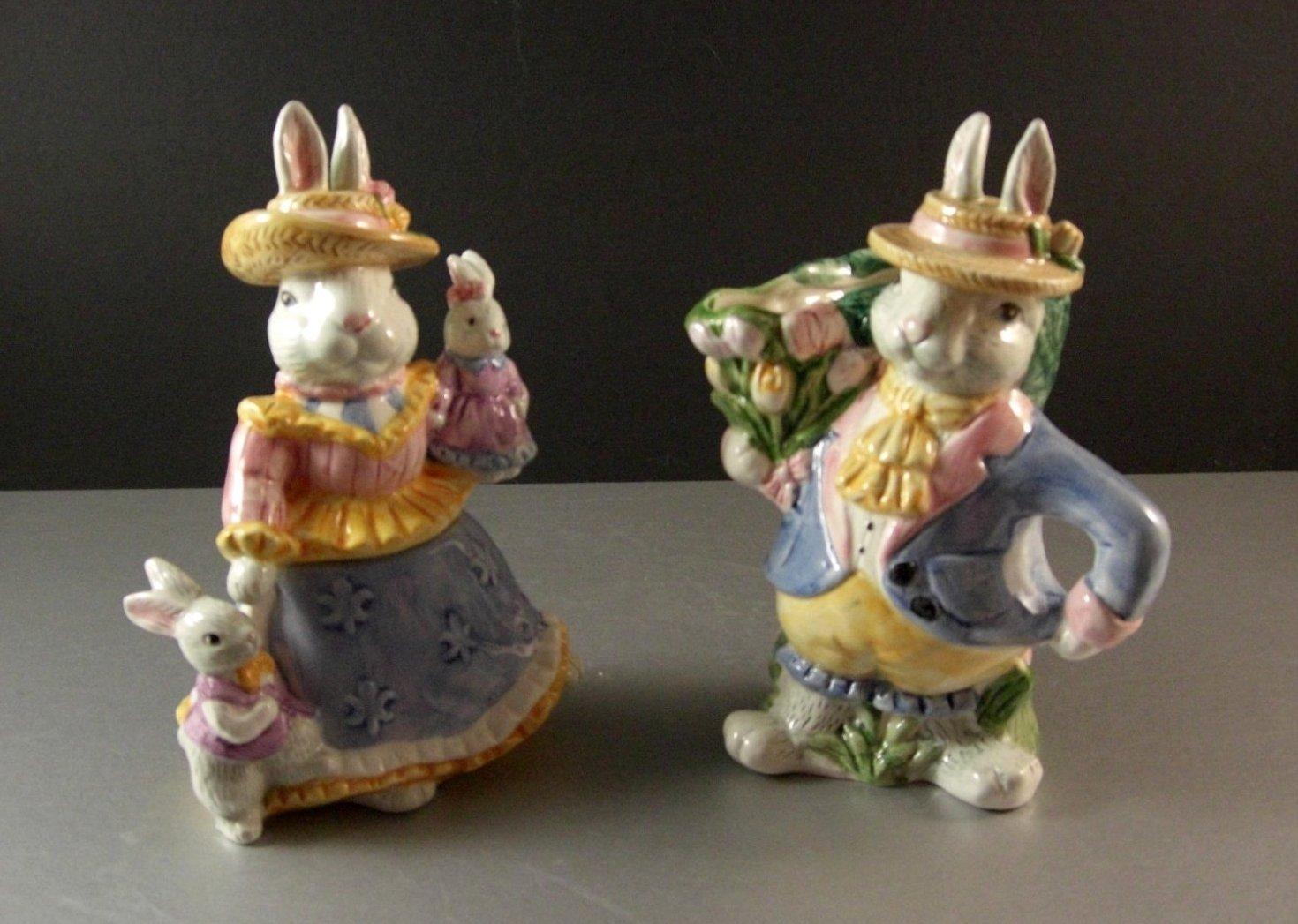 Fitz and Floyd Omnibus Versailles Rabbits Sugar and Creamer / 1994 in original b