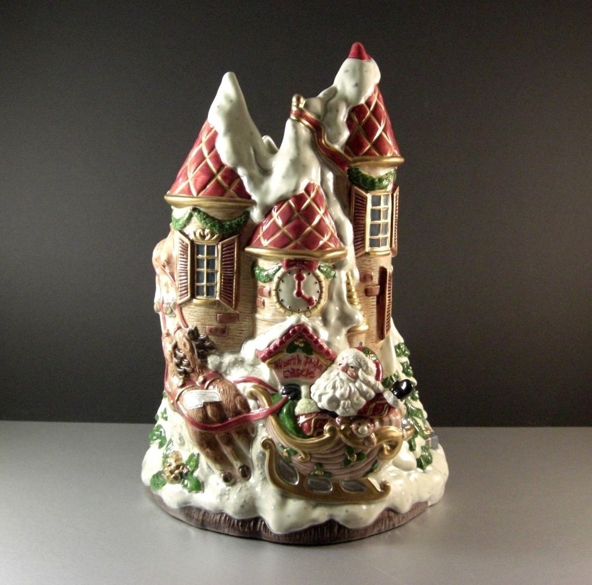 Fitz Floyd Kris Kringle North Pole Castle Vase / ENORMOUS Christmas Santa Center