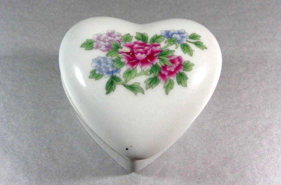Heart Shaped Porcelain Trinket Ring with flower transfer