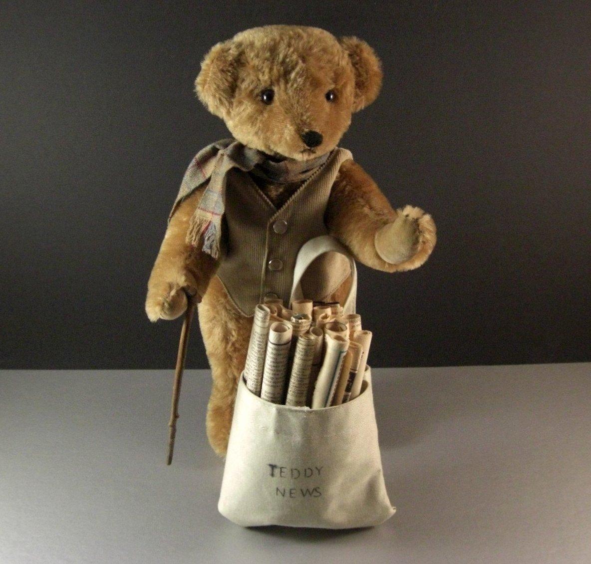 Teddy News Bear by artist Joanne C. Mitchell / signed