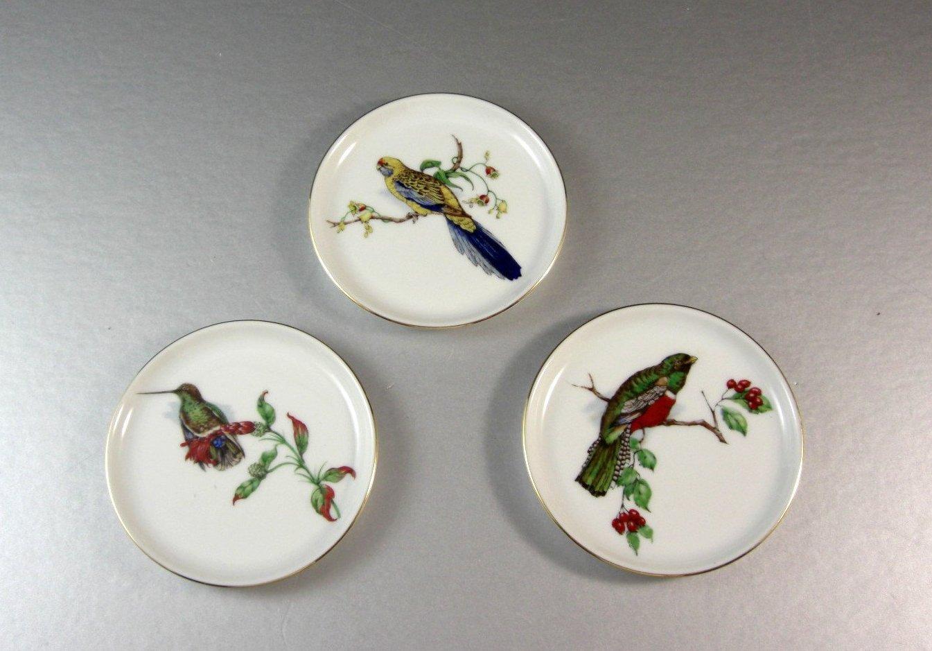 Porcelain Beverage Drink coasters / Birds / Furstenberg West Germany / Set of 3