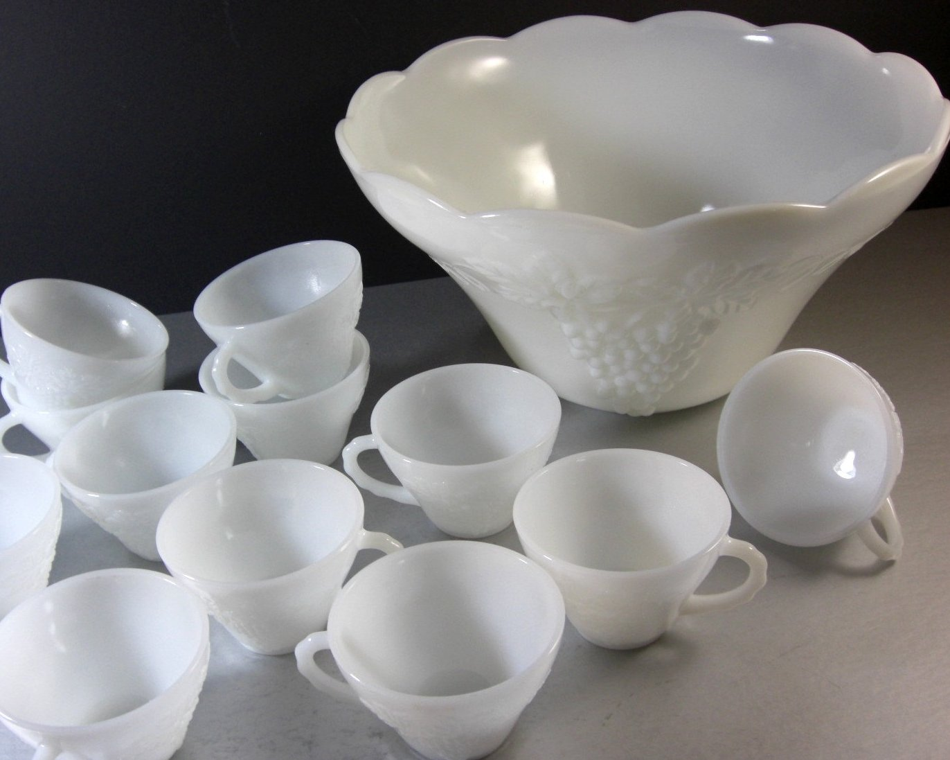 Anchor Hocking Milk Glass Punch Bowl with 12 Cups Harvest Grape Pattern