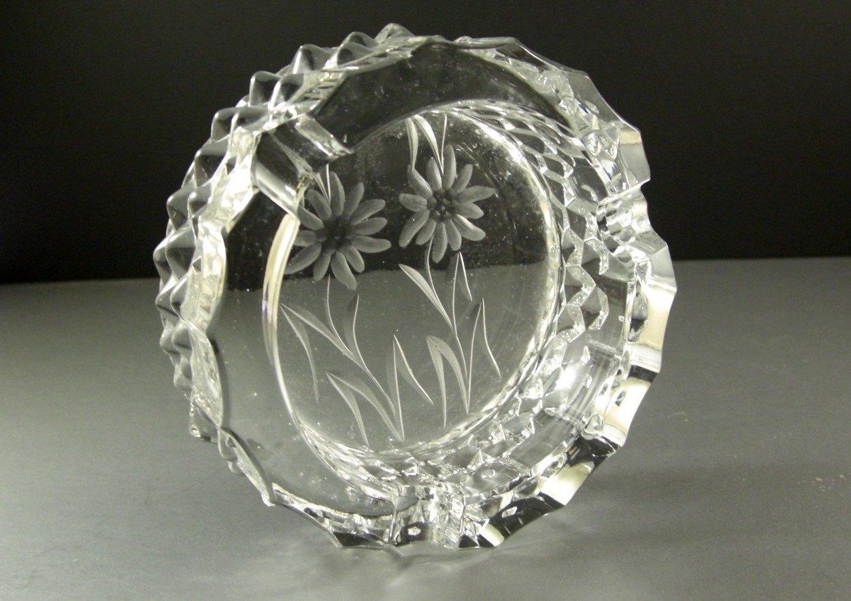 Bohemian Czech Cut Glass Bowl Dish Candle Holder Ashtray