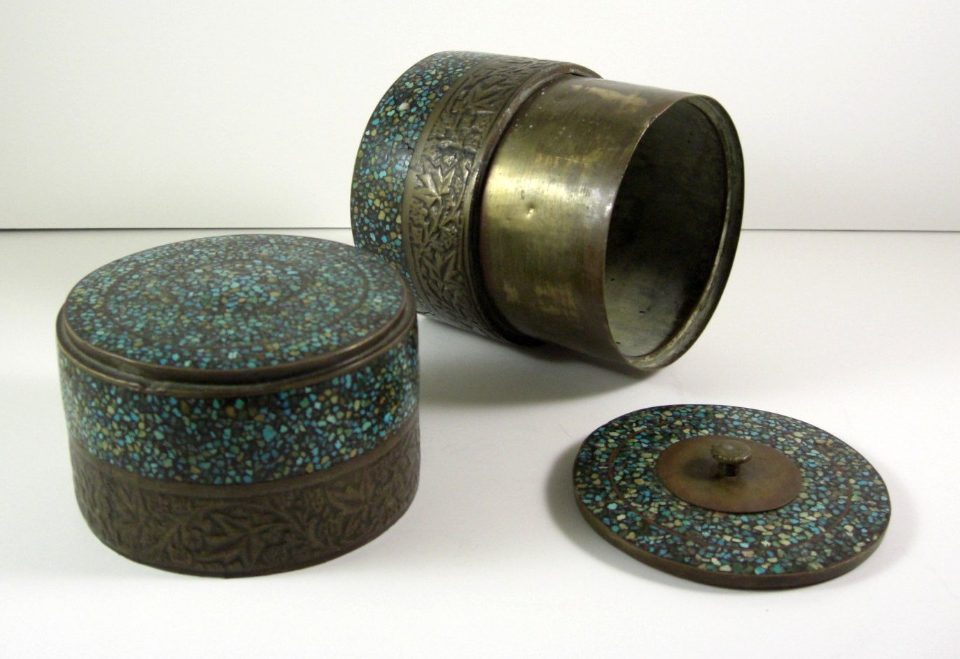 Asian Turquoise Micro Mosaic & Bronze Tea Caddy Spice Tobacco Box