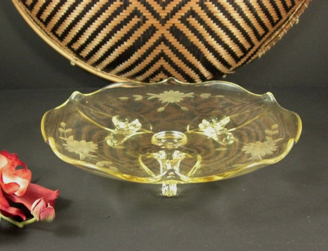 Lancaster Topaz Yellow Etched Glass Serving Tray / Depression Era Salver