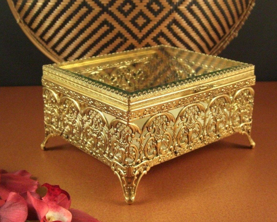 Large Ormolu Filigree Jewelry Casket Prong Set Beveled Glass Lid Rectangle