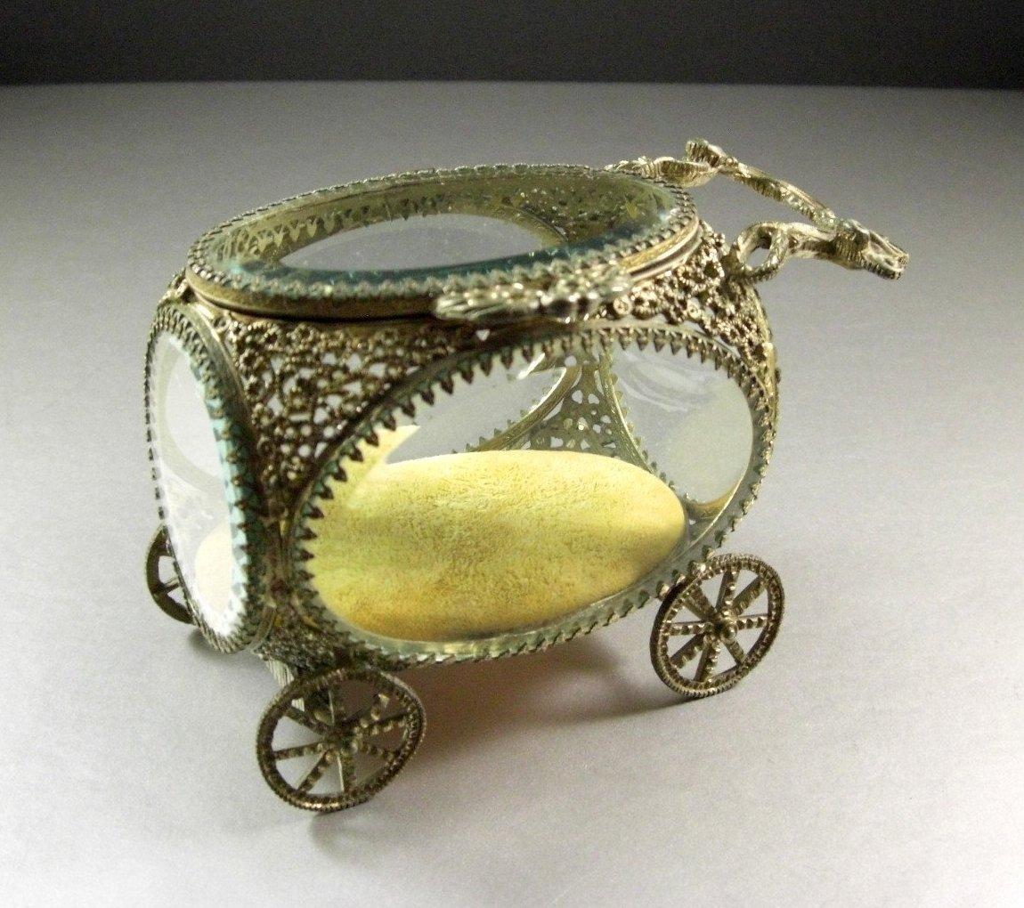 Elegant Beveled Glass Ormolu Jewelry Casket, Carriage