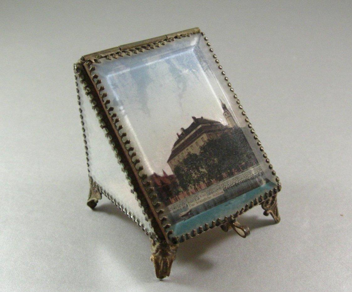 Antique Beveled Glass Ormolu Watch Case / Ring Box / Jewel Casket