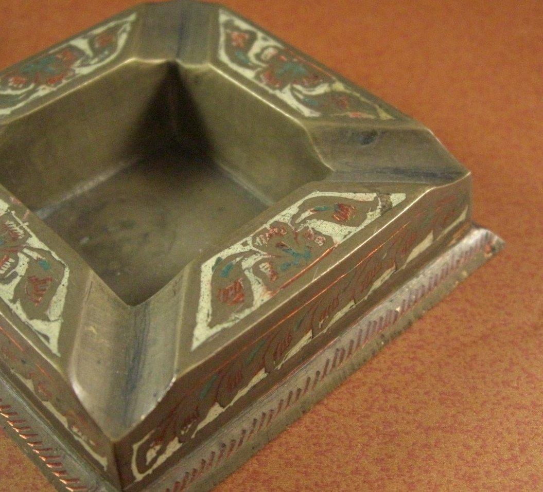 Hand Chased British India Brass Ashtray Hand Tinted Enamel