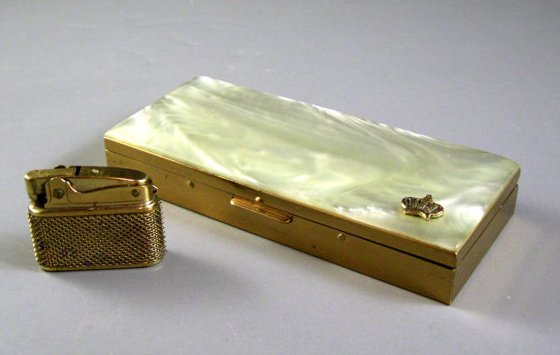 Lucite Faux Pearl and Brass Hinged Cigarette Case with Lighter