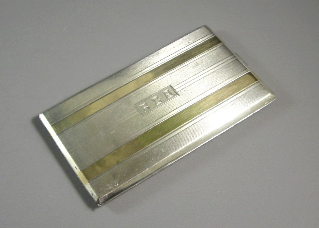 Reed & Barton Sterling Silver Cigarette Case with 14kt Gold Overlay