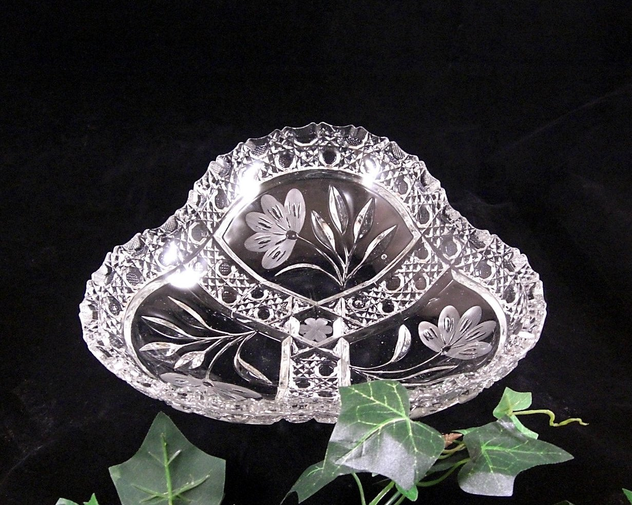 Antique ABP Glass Tri Corner Bowl c1900 Sawtooth, Floral and Cane
