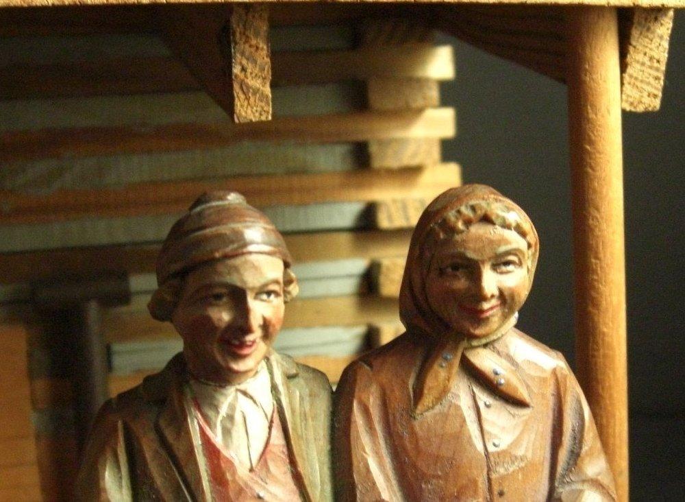 Hand Carved Wood Naughty Couple Figurine ANRI or like Vintage Italian