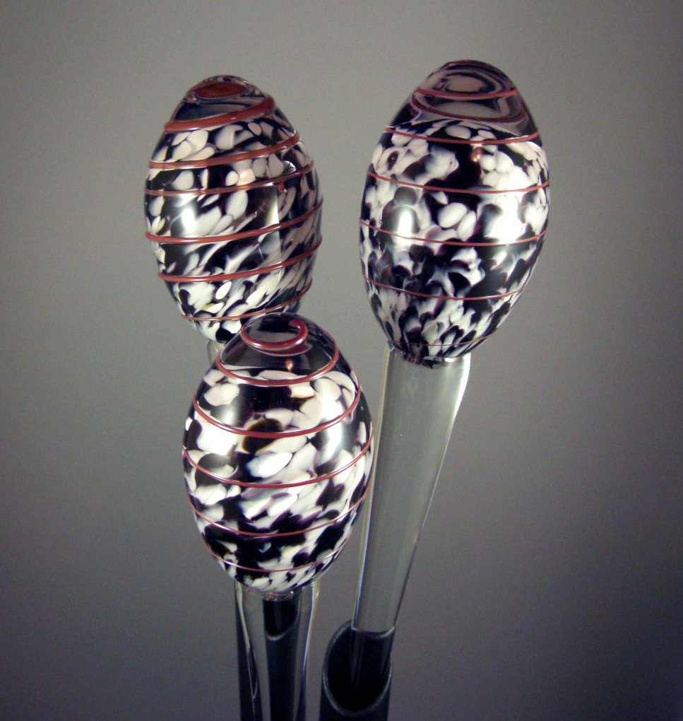 Crystal Egg Bouquet Sculpture / Spatter, Mottled Art Glass / Modern Epergne