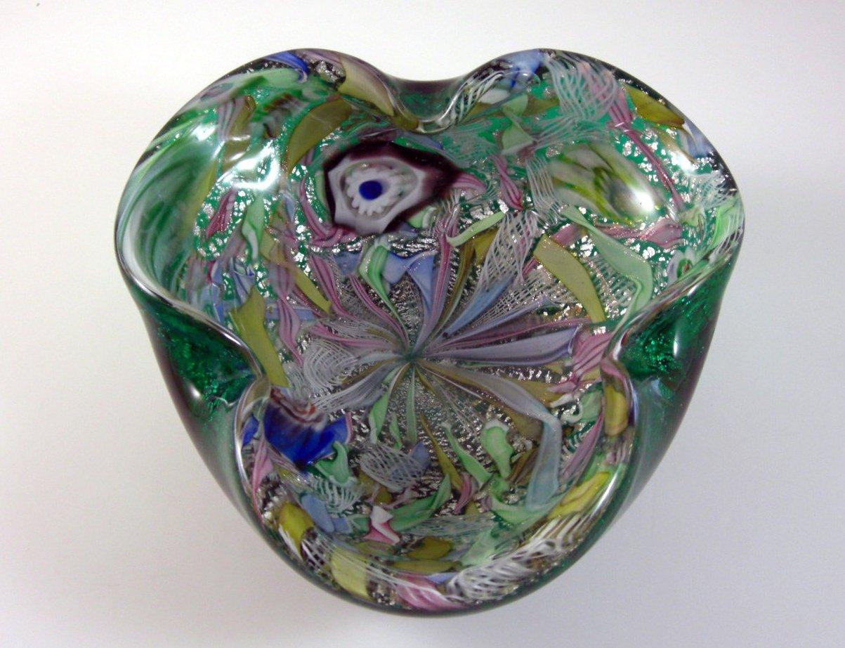 Emerald Green Murano Filigree Art Glass Bowl // Millefiore Latticino Aventurine