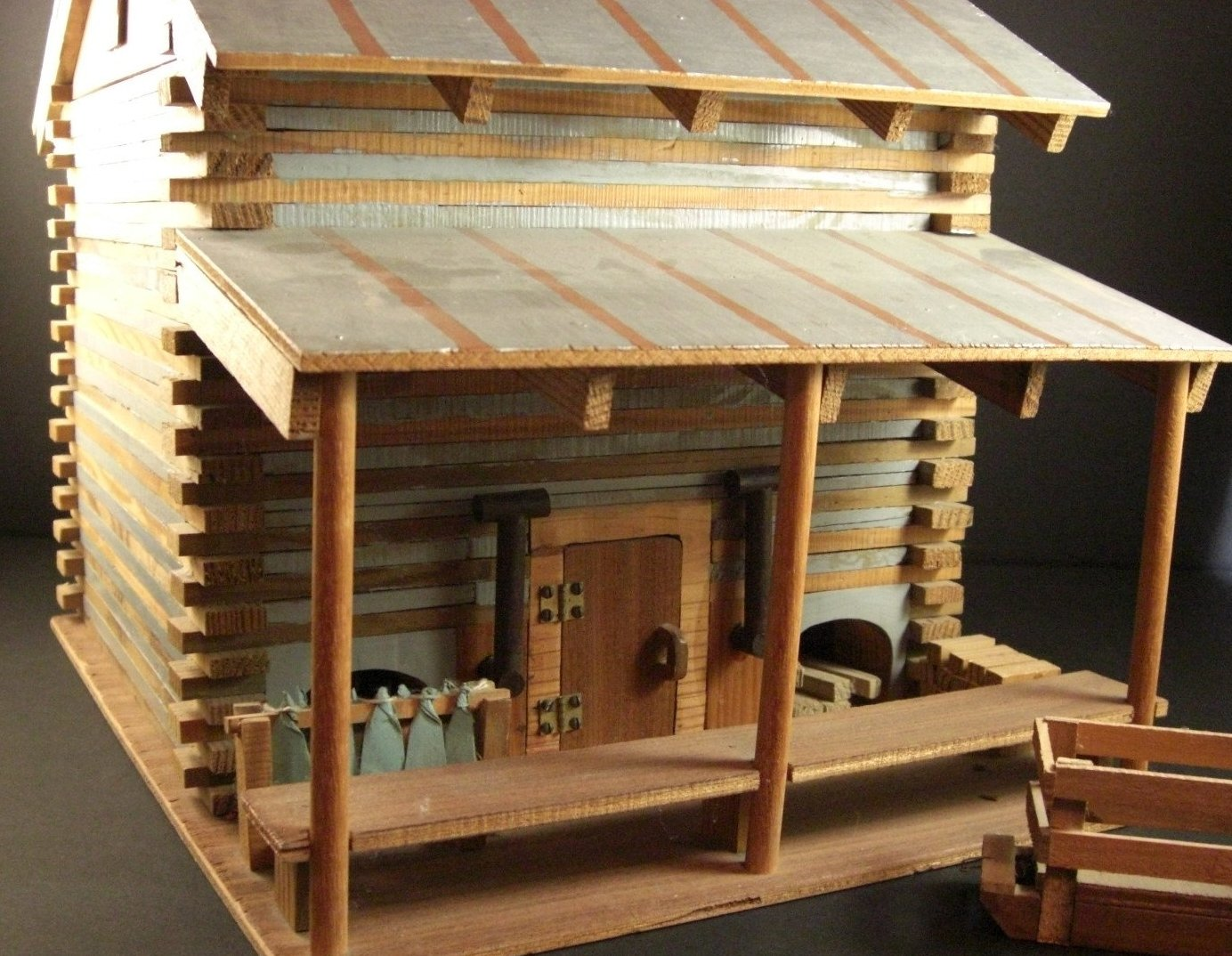 Handmade Miniature Smokehouse Diorama Tobacco Barn  AMERICAN Folk A