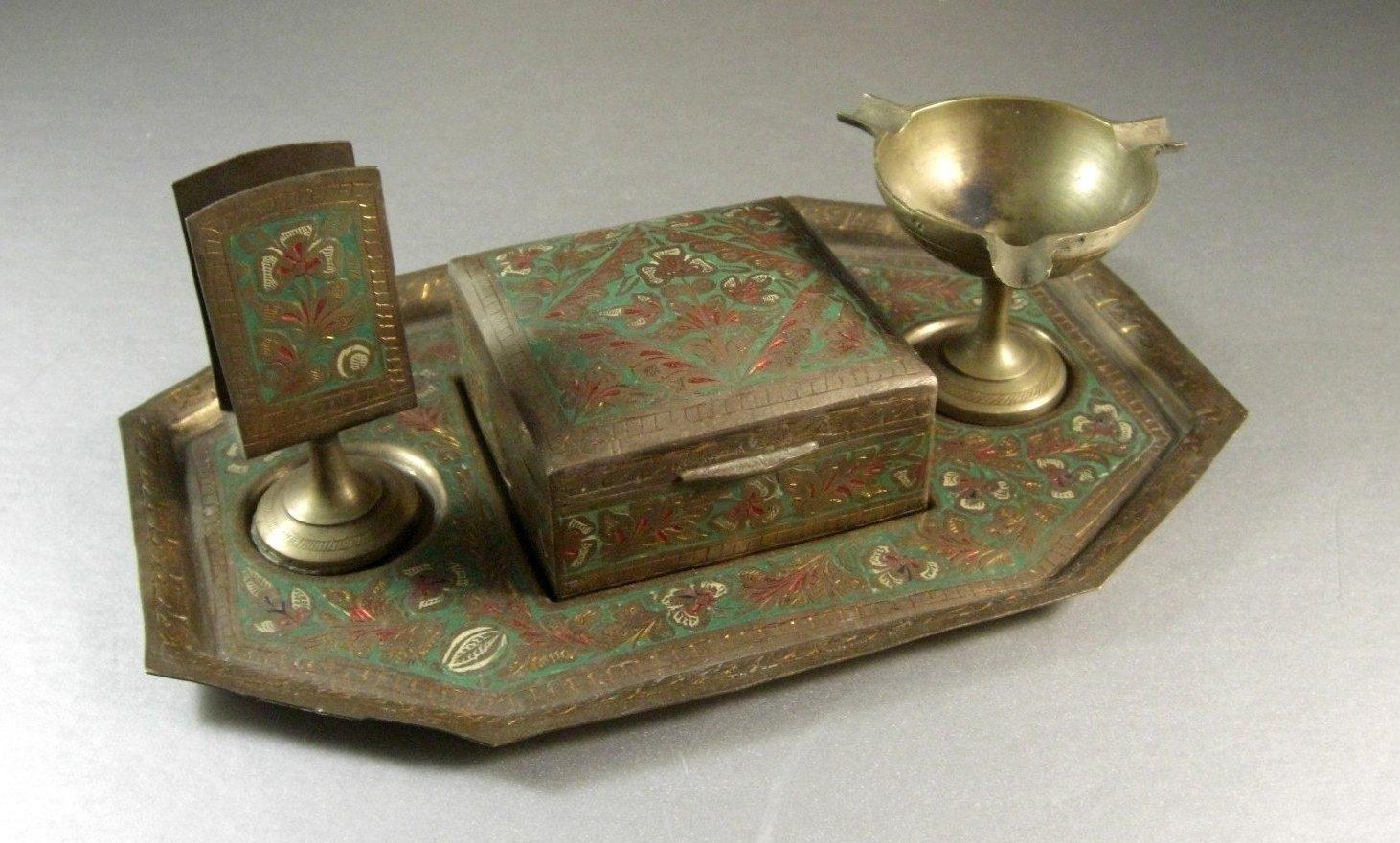 Hand Tinted Brass Smokers Set 4 Pieces WWII Era India Tobacciana