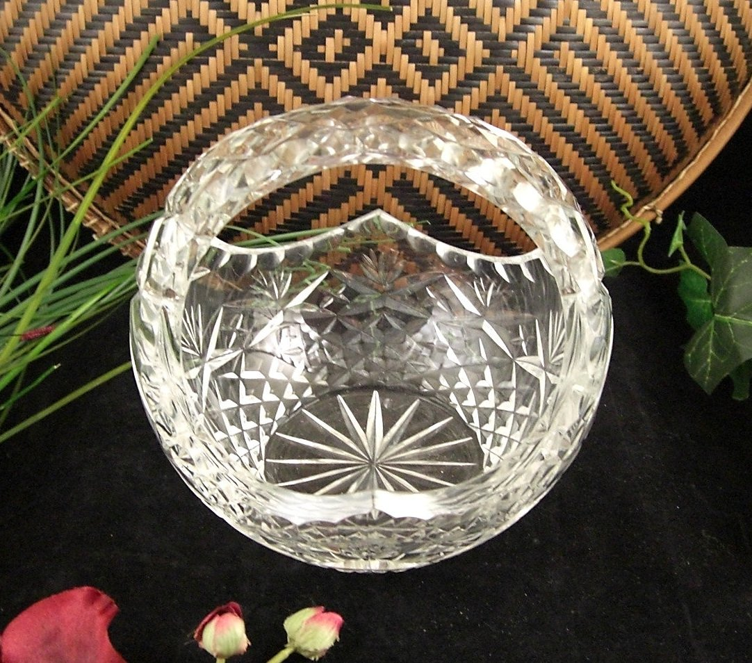 Hand Cut Crystal Brides Wedding Basket Czech Bohemian